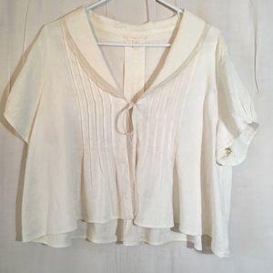 Kleen Silk Linen Blend Cropped Open Front Blouse